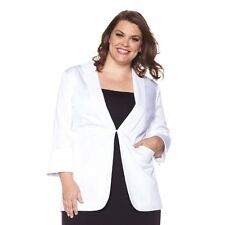 Queen Collection Sateen Cotton Boyfriend Blazer - WHITE (Large) 173729A SALE $69