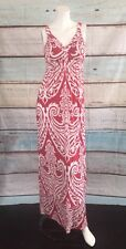 Inc International Concept Red White Empire Waist Maxi Dress Paisley Print Size S