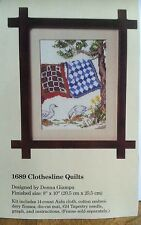 "The Creative Circle Counted Cross Stitch Kit 1689 Clothesline Quilts 8x10"" Ducks"