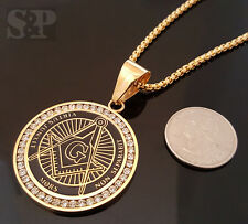 "Gold Stainless Steel Freemason Masonic CZ Pendant & 24"" Round Box Chain Necklace"