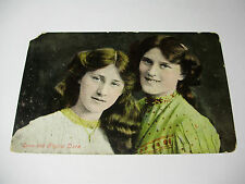 Lot97x - 1909 ZENA & PHYLLIS DARE Early Colour Tinted Valentines Postcard