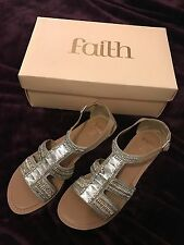 BNIB Faith Nude Silver Gold Jewell Embellished Flat Leather Sandals UK 7