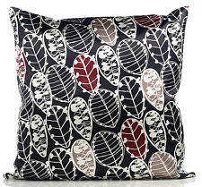 Black Red & Cream Satin Leaf 18 inch Cushion Cover **SALE** RRP £4