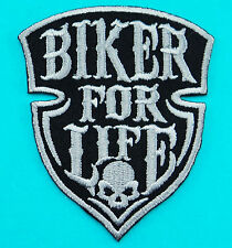 BIKER FOR LIFE Racing Motorcycle Biker Embroidered Iron/Sew On Patch / FREE SHIP