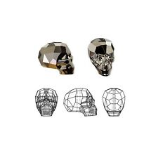 Swarovski Crystal Beads Faceted Skull 5750 Metallic Light Gold 2X 14x13x10mm