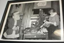 50s Vintage Glossy Black & White PHOTO PIcture FRAME Christmas Tree SANTA Gift