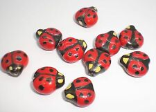 16x16mm Double-sided Porcelain Red/Black/Yellow Ladybug Beads - Package of 10