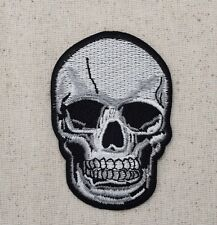 Iron On Embroidered Applique Patch SMALL Gray Black Human Skull Halloween Gothic
