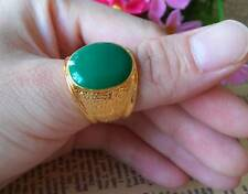 Nice Men's 18K Yellow Gold Plated Green Ring  Size #8