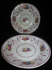 Antique Set Of Staffordshire Hand Painted Pink Luster Ware Bowl & Plate .