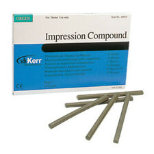 Dental Kerr Impression Compound 15 Green Sticks. Godiva verde en barras.
