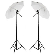 2 X Photo Studio Photography Continuous Lamp Light White Soft Umbrella Kit