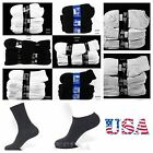 12 Pairs Lot Men 9-11,10-13 Athletic Sports Crew Ankle Socks White Black Gray