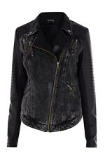LADIES WAREHOUSE PU AND PONTE SLEEVE BIKER JACKET SIZE 16 RRP £70