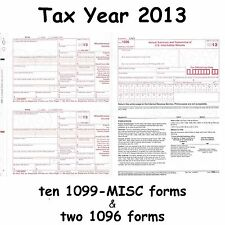 Ten 1099-MISC Miscellaneous Income 2013 IRS Tax Forms & 2 1096 Transmittal Forms