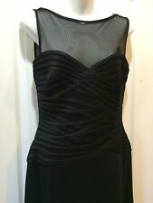 Tadashi Illusion Gown Black Size 6 Cocktail Dress Long Black Sheer Sleeveless