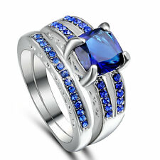 Size 6 Wedding Engagement Ring Set Two-in-One Sapphire Birthstone Birthday