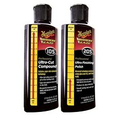 Meguiar's Mirror Glaze #105 & #205 Ultra Cut Compound & Finishing Polish 8oz Set