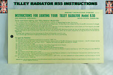 TILLEY LAMP R55 RADIATOR INSTRUCTIONS CARD LEAFLET