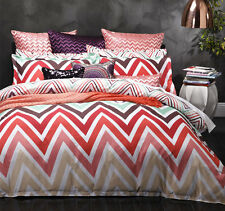 Logan & Mason CARNIVAL MULTI Chevron King Size Doona Duvet Quilt Cover Set NEW