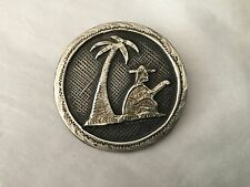 Vintage Mexico sterling pin or pendant palm tree and man