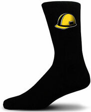 Yellow Builders Hard Hat - Black Novelty Socks - Special Socks | Perfect Gift