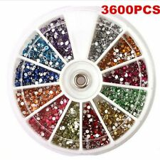 3600 Pcs 1.5mm DIY Rhinestones Glitter Nail Art Decoration 3D Tips Gem Wheel FT