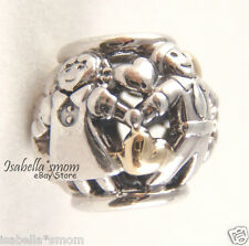FAMILY FOREVER Genuine PANDORA Silver/14K GOLD Mom~Dad~Kids~Heart Charm/Bead NEW