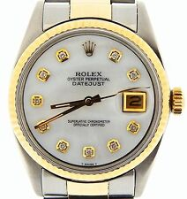 Mens 2Tone Rolex 14k Gold/Stainless Steel Datejust w/White MOP Diamond Dial 1601