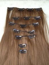 "natural brown 7 pcs set straight 20"" long clip in on hair extension heat resist"