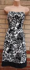 MK BLACK WHITE FLORAL BANDEAU SKATER FLIPPY PARTY PROM RARE A LINE DRESS 12 M