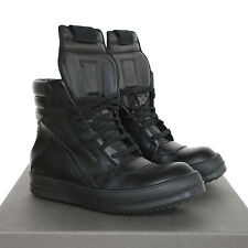 RICK OWENS black leather Geobasket shoes hi-top dunks geobaskets sneakers 37 NEW