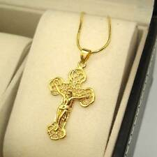 "18K Yellow Gold Filled Necklace Jesus Cross Pendant 18""Chain Link GF Jewelry Hot"