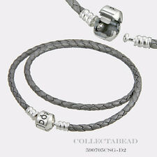 "Pandora Sterling Silver Double Silver Leather 15"" Bracelet  590705CSG"