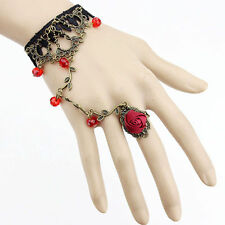 Gothic/Lolita RED HAND-JEWELLERY Black Lace Flower Bracelet Slave Chain Ring