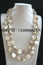 """shell pearl champagne flat baroque baroque necklace 48"""""""