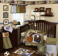 CoCaLo 8 Pc. Sports Crib Bedding Set Baby Boy Nursery Brown Blue Football