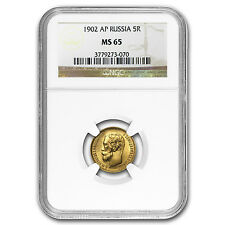 1902 Russia Gold 5 Roubles MS-65 NGC - SKU #17187