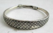 Old Hmong Hill Tribe Unisex Silver Bracelet Traditional Hmong Design