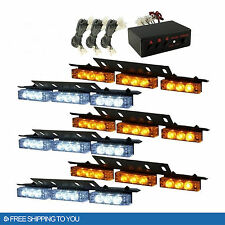 New 54 LED Strobe Lights Emergency Warning Car Deck Dash Grille White Amber