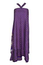 Boho Gypsy Hippy Beach Wrap Skirt Purple Premium Silk Sari Reversible Long Skirt