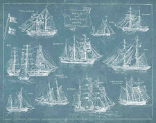 Sailing Ships by Wild Apple Blueprint Boat Vintage Print Poster 28x22