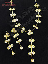 Designer Gold Plated Diamond Stones Kundan Necklace Earrings Fashion Jewelry Set