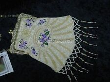 beaded handbag Victorian Edwardian Vintage Old West style bag reticule violets