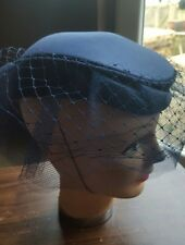 Vintage Navy Blue Veil Netted Pillbox Hat Wedding BHS Millinery