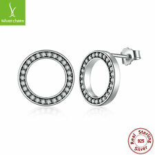 Solid S925 Sterling Silver Authentic Clear Forever Round Stud Earrings For Women