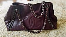 AUTH CHANEL BROWN CALFSKIN XL MODERN CHAIN GRAND EAST/WEST TOTE BAG/COMPLETE SET