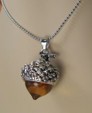 AMBAR GLASS ACORN NECKLACE PENDANT ANTIQUE SILVER WITH LONG CHAIN (Z30)
