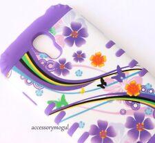 For Samsung Galaxy S4 -HYBRID ARMOR SHOCKPROOF SKIN CASE PURPLE FLOWER BUTTERFLY