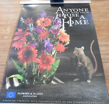 Mouse and flowers vintage poster for the Flowers and Plants Association 1995